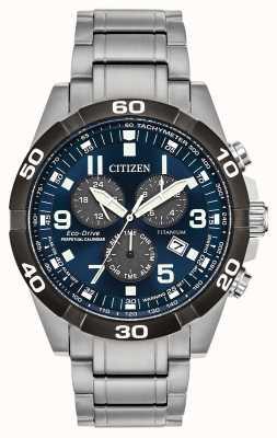 Citizen Brycen Super Titan Perpetual Kalender blaue Zifferblatt Uhr BL5558-58L