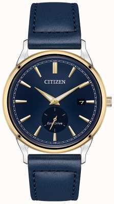 Citizen Herrenarmband Eco-Drive Edelstahl Gold IP Blau Lederarmband Uhr BV1114-18L