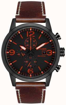 Citizen Herren Sport Eco-Drive schwarz IP braun Lederarmband Uhr CA0617-11E