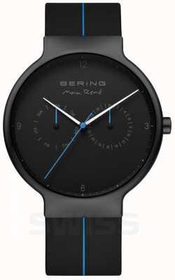 Bering Herren max rene   schwarzes Silikonband   schwarz / blaues Zifferblatt 15542-428