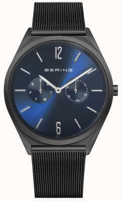 Bering Ultra schlank | schwarzes Stahlgitterarmband | blaues Zifferblatt 17140-227