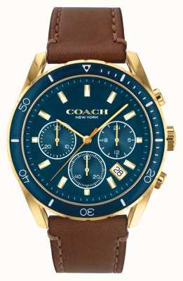Coach Herren Preston | braunes Lederband | blaues Zifferblatt 14602513
