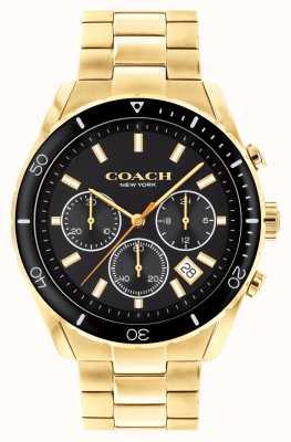 Coach Herren Preston | vergoldetes Stahlarmband | schwarzes Zifferblatt 14602517