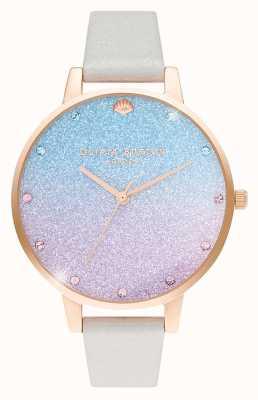 Olivia Burton Frauen Glitter Ombre Demi Zifferblatt | Perlenschimmerband OB16US47