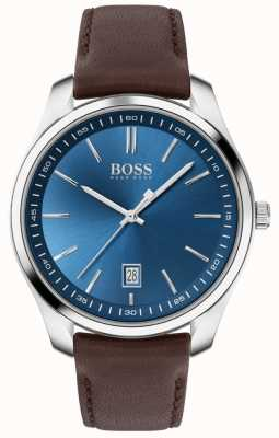 BOSS Rennsport lux | braunes Lederband | blaues Zifferblatt 1513728