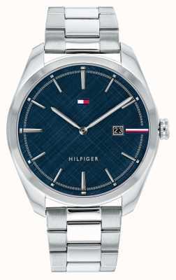 Tommy Hilfiger Herrentheo   Edelstahl Silber Armband   blaues Zifferblatt 1710426