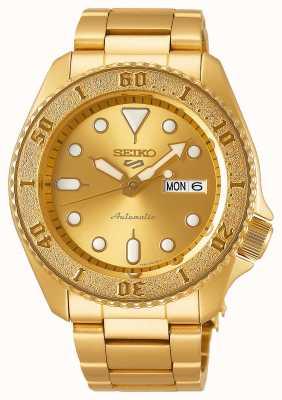 Seiko 5 Sport Herren Gold Ton Armband Gold Zifferblatt SRPE74K1