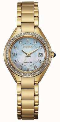 Citizen Damen Silhouette Kristall Gold IP Perlmutt Uhr EW2552-50D