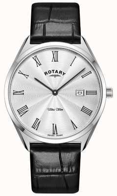Rotary Herren ultra schlank | schwarzes Lederband | silbernes Zifferblatt GS08010/01