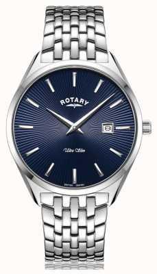 Rotary Ultra schlanke silberblaue Zifferblattuhr GB08010/05