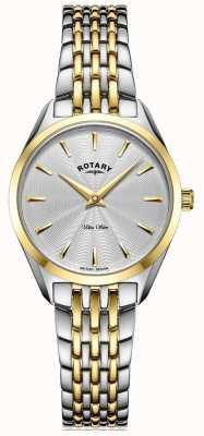 Rotary Ultra schlanke Damen zweifarbige Armbanduhr LB08011/02