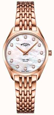 Rotary Ultra schlanke Damen Roségold Armbanduhr LB08014/41/D