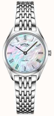 Rotary Ultra schlanke Damen silberne Armbanduhr LB08010/41