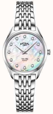 Rotary Frauen ultra schlank | Edelstahlarmband | Diamant Perlmutt Zifferblatt LB08010/07/D