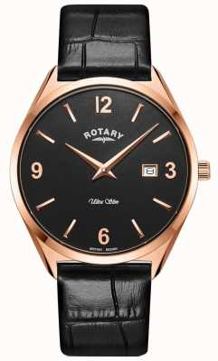 Rotary Herren ultra schlank | schwarzes Lederband | Roségold PvD Fall GS08014/04