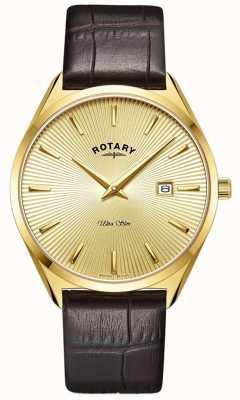 Rotary Herren ultra schlank | braunes Lederband | vergoldetes pvd-plattiertes Gehäuse GS08013/03