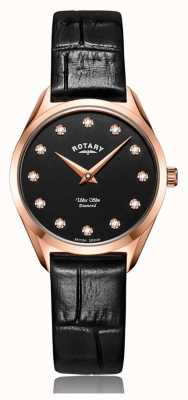 Rotary Ultra schlanke Damen Roségold Diamant Uhr LS08014/04/D