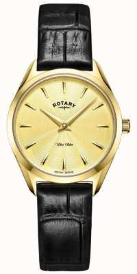 Rotary Ultra schlanke Damenuhr aus goldenem Leder LS08013/03