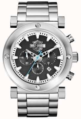 Harley Davidson Herren Chronograph | Edelstahlarmband | schwarzes Zifferblatt 76B166
