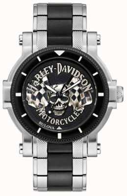 Harley Davidson Herrenschädel und Fahnen | zweifarbiges Stahlarmband | schwarzes Zifferblatt 78A124