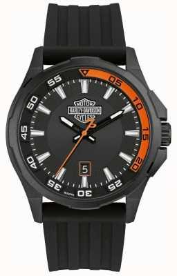 Harley Davidson Herren Dashboard | schwarzes Silikonband | schwarzes Zifferblatt 78B140