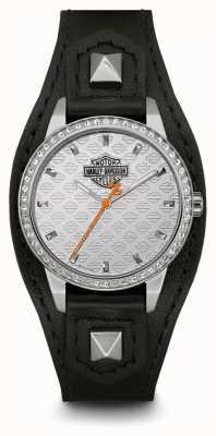 Harley Davidson Damenmanschette | schwarzes Lederband | silbernes Zifferblatt 76L183