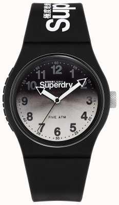 Superdry Urban Lazer   schwarzes Silikonband   schwarz-graues Zifferblatt SYG198EB