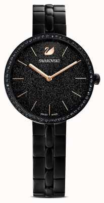 Swarovski Weltoffen | schwarzes pvd-plattiertes Armband | schwarzes Glitzer-Zifferblatt 5547646