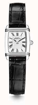 Michel Herbelin Damen Mini Art Deco | schwarzes Lederband | weißes Zifferblatt 17438/08