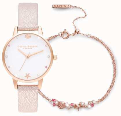 Olivia Burton | unter dem Meer | uhr und armband geschenkset | pink | OBGSET141