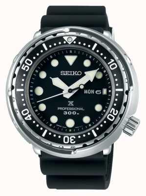Seiko Männer Prospex   schwarzes Silikonarmband   schwarzes Zifferblatt S23629J1