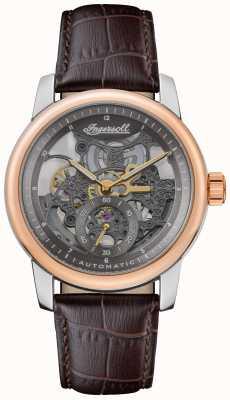 Ingersoll Das Baldwin automatische graue skelettierte Zifferblatt braunes Lederband I11001