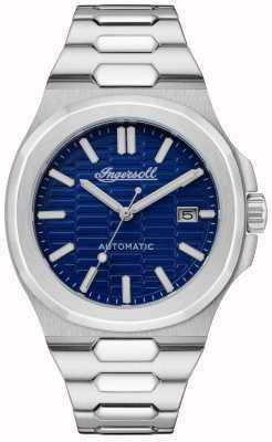 Ingersoll Das Catalina Waben strukturierte blaue Zifferblatt Edelstahl Armband I11801