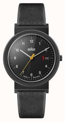 Braun Herren klassisches schwarzes Lederband schwarzes Zifferblatt schwarzes Detail AW10EVOB