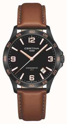 Certina   ds-8   braunes Lederband   schwarzes Zifferblatt   Quarz   C0338513605700