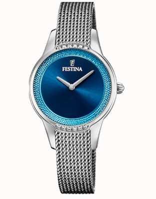 Festina Damenkeramik   zweifarbiges Stahl / Keramik-Armband   blaues Zifferblatt F20494/2
