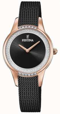 Festina Damenarmband aus schwarzem Stahlgitter | schwarzes Kristallzifferblatt F20496/2