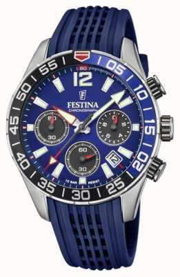Festina Herren Chronograph   blaues Silikonband   blaues Zifferblatt F20517/1