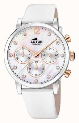 Lotus Weißes Lederband für Damen | Perlmutt Zifferblatt L18674/1