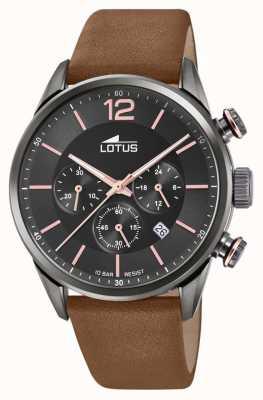 Lotus Herren braunes Lederband | schwarzes Chronographenzifferblatt L18687/2