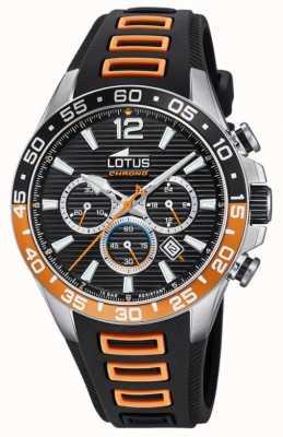 Lotus Herren schwarz / orange Silikonarmband | schwarzes Chronographenzifferblatt L18697/1