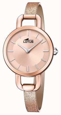 Lotus Damen Glitzer Lederband | roségoldenes Zifferblatt L18747/1
