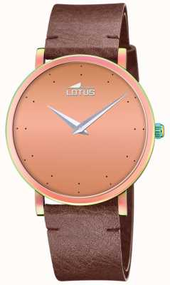 Lotus Damen braunes Lederband | roségoldenes Zifferblatt L18778/2