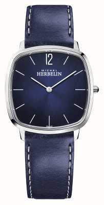 Michel Herbelin Stadt | blaues Lederarmband für Herren | blaues Zifferblatt 16905/15BL