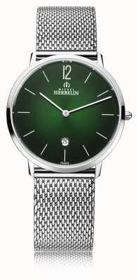 Michel Herbelin Stadt | Herren Stahlgitter Armband | grünes Zifferblatt 19515/16NB