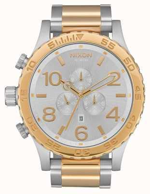 Nixon 51-30 chrono   Silber / Gold   zweifarbiges Armband   silbernes Zifferblatt A083-1921-00
