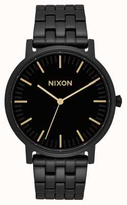 Nixon Porter | alles schwarz / gold | schwarzes IP Stahlarmband | schwarzes Zifferblatt A1057-1031-00