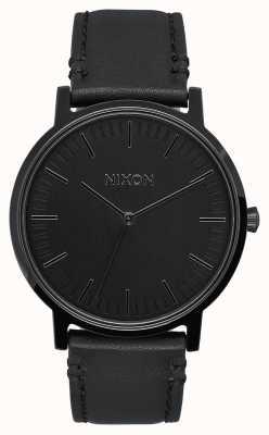 Nixon Porter Leder   alles schwarz   schwarzes Lederband   schwarzes Zifferblatt A1058-001-00
