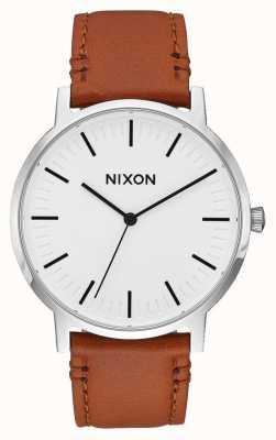 Nixon Porter Leder | weißer Sonnenstrahl / Sattel | braunes Lederband | weißes Zifferblatt A1058-2442-00