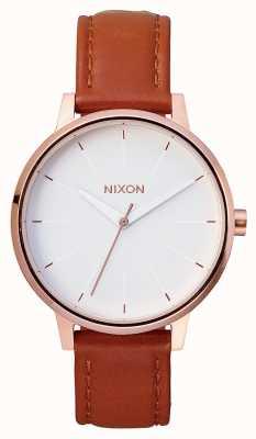 Nixon Kensington Leder | Roségold / Weiß | braunes Lederband | weißes Zifferblatt A108-1045-00